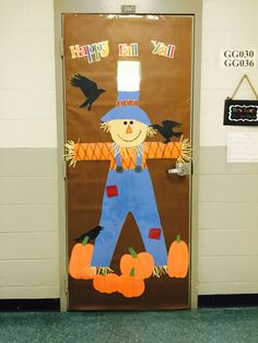 Scarecrow Happy Fall Y'all classroom door cover