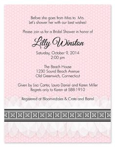 Lady Lingerie Bridal Shower Invitations