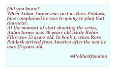 About Aidan Turner & Ross Poldark age in Book 1.