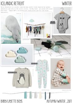 Icelandic Retreat is a Baby/Layette boys Autumn/Winter trend intended to cover late Winter/Christmas. Tonal Ocean blues are mixe. Style Outfits, Kids Outfits, Color 2017, Swag Style, Style Hipster, Cheap Kids Clothes, Kids Clothing, Baby Layette, Winter Trends