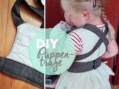 DIY: A fast-sewn doll carrier - nähen - Baby Diy Baby Knitting Patterns, Sewing Patterns, Sewing For Kids, Free Sewing, Sewing Hacks, Sewing Tutorials, Sewing Tips, Diy Doll Carrier, Costura Diy