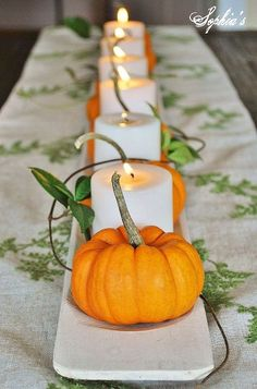 Five Easy Fall Centerpiece Tips :: Hometalk, Fall Decor, Thanksgiving Decor, Pumpkin and candles Thanksgiving Centerpieces, Thanksgiving Crafts, Fall Crafts, Thanksgiving Table Decor, Autumn Table, Christmas Tables, Holiday Tables, Decorating For Thanksgiving, Fall Dining Table