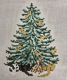 Needlepoint Designs, Dog Bones, Pet Dogs, Trees, Christmas Tree, Stitch, Canvas, Animals, Teal Christmas Tree