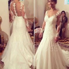 Tbdress.com offers high quality Long Sleeves Lace Appliques Button Mermaid Wedding Dress Latest Wedding Dresses unit price of $ 200.99.
