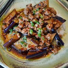 Spicy, stir-fried pork with ginger and garlic is a deliciously piquant foil for silky broiled eggplant in Andrew Zimmern's Ma Po Eggplant.