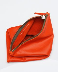 Orange Fold-Over Clutch by Clare Vivier Tote Bags, My Bags, Purses And Bags, Clutch Bags, Fashion Weeks, Clare Vivier Clutch, Celine, Orange Clutches, Color Naranja