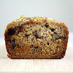 dark chocolate chunk and walnut banana bread, gluten free, Dairy free, lower in Fat and Sugar, Yet so Moist & Delicious