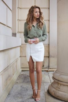 slit skirt with button down shirt