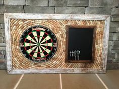 Made to Order Wine Cork Dartboard Backer with Scoreboard and Dart Storage 49 x 29 Game Room Dartboard Backer, Dartboard Ideas, Game Room Decor, Game Rooms, Rec Rooms, Playroom Decor, Playroom Ideas, Man Cave Bar, Basement Remodeling