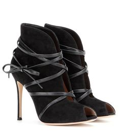 Gianvito Rossi Suede Open-toe Ankle Boots For Spring-Summer 2017