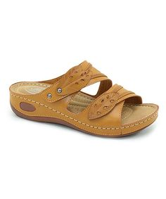 Look what I found on #zulily! Camel Leaf-Strap Wedge Sandal #zulilyfinds