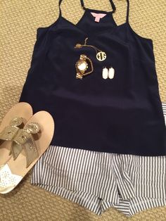 navy tanktop. monogram necklace. kendra scott earrings. striped shorts. jack rodgers. Just not the shoes