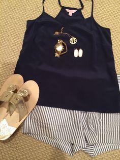 navy tanktop. monogram necklace. kendra scott earrings. striped shorts. jack rodgers.