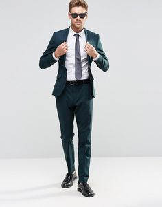 Image 1 of Selected Homme Bottle Green Suit in Slim Fit with Stretch