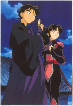 Miroku e Sango - Inuyasha - Anime Manga Anime, Manga Art, Anime Art, Miroku, Kagome Higurashi, Inu Yasha, Kagome And Inuyasha, Card Captor, Hanabi