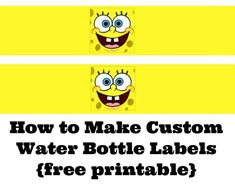 Want to make your party special with some custom water bottle labels? Check out this tutorial with free printables of these SpongeBob SquarePants water bottle labels! Spongebob Birthday Party, 9th Birthday Parties, Birthday Fun, Birthday Ideas, Custom Water Bottle Labels, Printable Water Bottle Labels, Party Labels, Childrens Party, Spongebob Squarepants