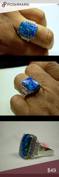 Mosaic Opal  Diamond Sterling Silver Ring Jewelry Solid Sterling Silver Size 5 or 7 Genuine Mosaic Opal Simulated purple & white diamonds TGW 3.900 cts Jewelry Rings