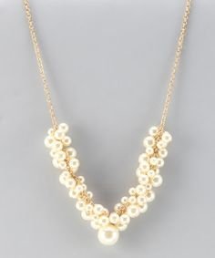 Take a look at this Matte Gold & Pearl Grape Cluster Necklace by Lolita on #zulily today!Only $19.99 Limited Qty! Sale ends in 2 days!