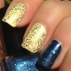Beauty and the Beast Disney nail! Would add the rose to the blue nail!