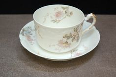 Porcelain Teacup, Haviland Limoges France, Teacup and Saucer, Shabby Chic Decor, Antique China, Soft Pastels, Floral China, Turn of Century by ClassicEndearments on Etsy