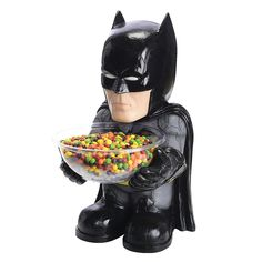 Let your favorite superhero serve up some tasty treats with this Batman candy bowl holder! It's perfect to use at parties and even better for trick or treaters during Halloween! Simply fill it up with your favorite candies and let Batman do the rest! Halloween Candy Bowl, Batman Halloween, Batman Party, Batman Birthday, Halloween Stuff, Best Candy, Favorite Candy, Man Of Steel, Superman