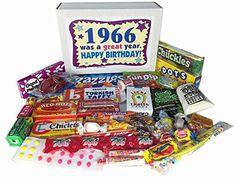 50th Birthday Gift Basket Box Jr. 1966 Retro Nostalgic Candy '60s Decade - http://mygourmetgifts.com/50th-birthday-gift-basket-box-jr-1966-retro-nostalgic-candy-60s-decade/