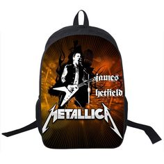 Mano Cornuto Street Rock Backpack Young Men Women Punk Daily Backpack Rock Band ACDC / The Beatles Bags Boys Girls School Bags