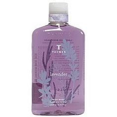 Lavender Body Wash 270ml by The Thymes. $19.00. Beneficial botanicals care for your skin as they cleanse, transforming your shower into a revitalizing experience that helps you navigate your day with grace and ease.  Fragrance: A composition of soft, velvet lavender blended with the warmth of rosewood, clary sage and violet leaf  Moisturizing jojoba oil  Hydrating honey  Soothing aloe vera  Supportive vitamin E  9.75 fl oz / 270 ml