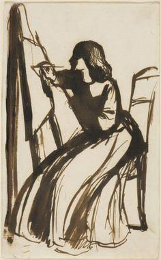 Dante Gabriel Rossetti - WikiPaintings.org Elizabeth Siddal Seated at an Easel 1852