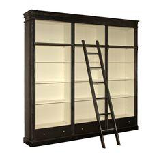 """Bokhylla """"Belle Noir"""" biblioteksbokhyla i matt svart gjord i tre sektioner med lådor & stege i antik stil från Manorstyle"""