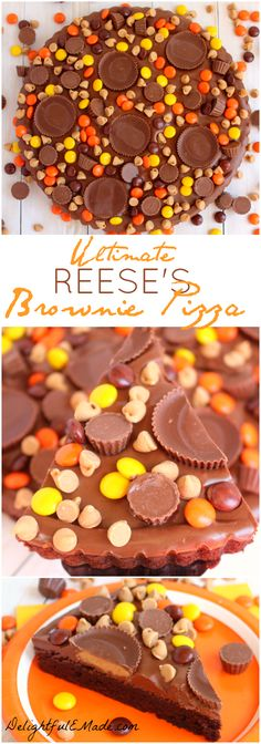 Loaded with REESE& Pieces, Peanut Butter Cups, Mini& Peanut Butter Chips, and a chocolate peanut butter frosting, this brownie is the perfect snack time treat! Chocolate Peanut Butter Frosting, Chocolate Pizza, Peanut Butter Chips, Peanut Butter Recipes, Chocolate Heaven, Easy Desserts, Delicious Desserts, Dessert Recipes, Yummy Food