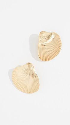 yellow gold shell drop earrings