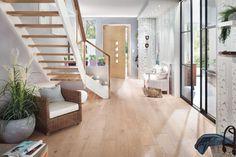Wangentreppe Meisterstück viertelgewendelt mit Glasgeländer Halls, Elfa, Interior Stairs, Living Room Designs, Couch, Furniture, Home Decor, Fitness, Clear Glass