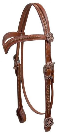 Showman MEDIUM OIL Leather Headstall w/ Copper Celtic Knot Concho NEW HORSE TACK in Sporting Goods,Outdoor Sports,Equestrian | eBay