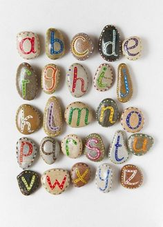 Alphabet Pebbles for Kids, via Etsy. me: Magnetic rock letters for engaging students in library with alphabet. Rock Crafts, Arts And Crafts, Stone Crafts, Diy For Kids, Cool Kids, Help Kids, Art Pierre, Craft Projects, Crafts For Kids