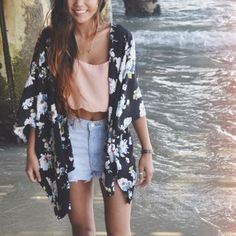 jacket kimono floral sheer black white blue pink light blue light pink pastel coral orange crop tops jeans necklace boho hippie hipster cute pretty style stylish fashionista fashion gorgeous high waisted shorts bohemian tank top