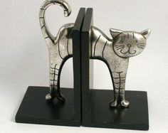 Vintage 1970s Cat Book Ends