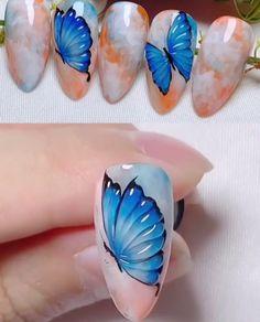 Rose Nail Art, Butterfly Nail Art, Rose Nails, Gel Nails, Butterfly Nail Designs, Nail Art Designs Videos, Nail Art Videos, Nail Art Tutorials, 3d Nail Designs