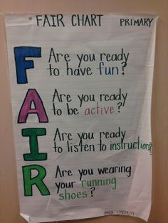 HPE Merritt: Health and Physical Education: Anchor Chart for Playing F.A.I.R.