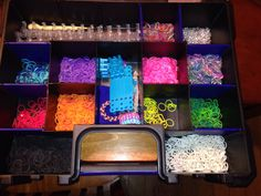 To parents whose kids have a Rainbow Loom rubber band addiction; Lowe's carries a bigger nuts/bolts box that is deeper and will hold not only the bands but the loom also.  The compartments rise to the lid so that the bands do not shift when transporting.  The size pictured is only $9.99 compared to the $7 I paid at Pat Catan's for a small case. Anything that will help keep them organized and off the floor makes me a happy Mom!