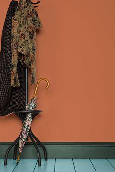 Un mur terracotta, Farrow & Ball Bedroom Wall Colors, Living Room Colors, Bedroom Ideas, Orange Walls, Red Walls, Deco Orange, Red Paint Colors, Farrow Ball, Studio Apartments
