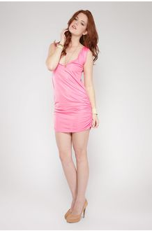 Vestido Curto Drapeado nas Laterais Rosa Behalf no Brandsclub