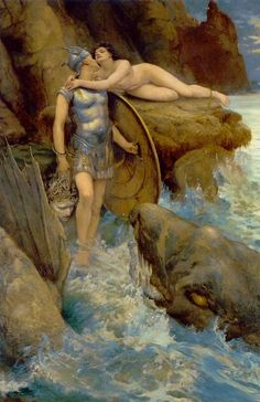 """"""" """" Charles Napier Kennedy - Perseus and Andromeda. 1890 """" one of my favorite myths, though now I have guilt feelings about poor Medusa """" Charles Napier, John Charles, Greek And Roman Mythology, Greek Gods, Pre Raphaelite, Classical Art, Classical Greece, Gods And Goddesses, Erotic Art"""