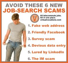 If you're considering a #workathome position, read on as we reveal the six newest job-search #scams. #telecommute #jobs #tips