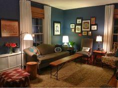 Year-long Living-room Overhaul. Cozy room, Newburyport blue with DIY window treatments.