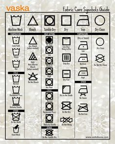 Fabric Care Laundry Guide, a simple guide to help you interpret what all those symbols on your care tags mean. Download yours here.