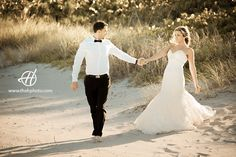 Wedding Photo session on the beach in Florida with Nico and Daniel. Bride and groom portraits on sunset light. Photography Doru Halip for H Photography