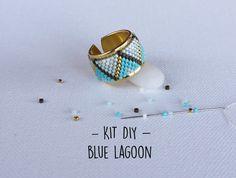 Kit bijoux Bague tissage perles Miyuki  - Turquoise Or - modèle Blue Lagoon*