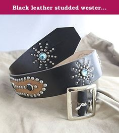 Black leather studded western belt brown sugar. Our belts are inspired by American western belts of the 30s and 40s. An entirely handmade and artisanal creation process, from the dying of the leather to the riveting of the studs, all our belts are individual to you. All our belts are tailor-fit to size. Please specify the measurements shown in the picture upon ordering. Materials Finest quality neck cowhide American studs Encrusted American jewel studs Leather dye Buckle Western belt...