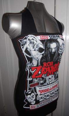 Rob Zombie halter top - handmade diy heavy metal nu metal band shirt made to order just for you. by CHOPSHOPCLOTHING on Etsy https://www.etsy.com/listing/109863944/rob-zombie-halter-top-handmade-diy-heavy